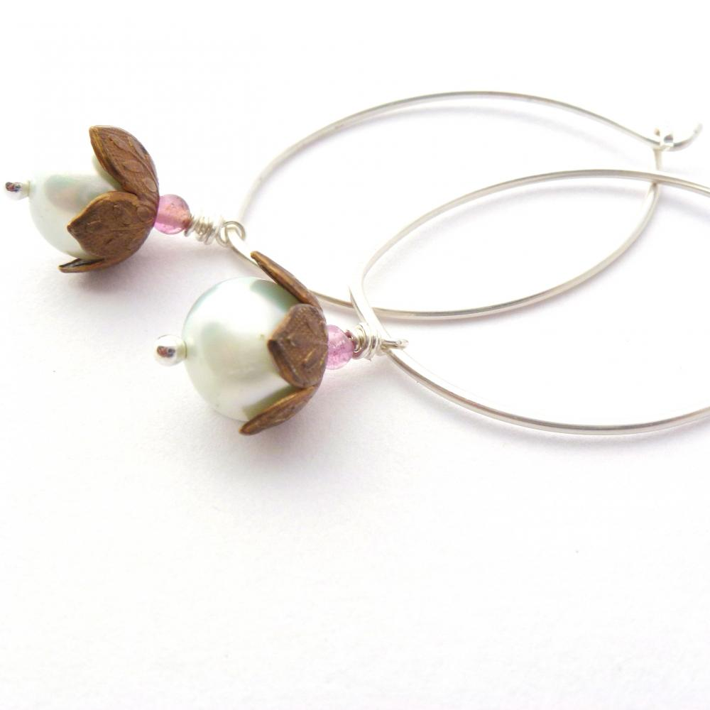 Pearl Hoop Earrings Sterling Silver and Brass with Blue Freshwater Pearl and Pink Tourmaline