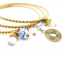 Brass Bangle Charm Bracelets - Set of Three